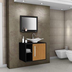 Conjunto p/ Banheiro Baden Preto Ripado