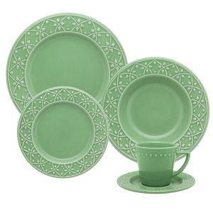 Aparelho de Jantar Porcelana Mendi 20 peças Oxford Verde Sálvia