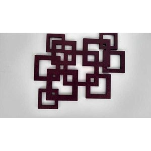 Escultura de parede abstrata quadrados, cortada à laser em MDF de 6mm, com 69cm de comprimento.