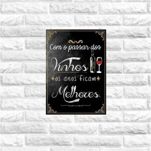 Placa decorativa MDF frases vinho 20x30cm