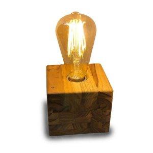 Luminária De Mesa Em Madeira Teca Bivolt