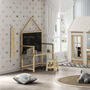 Escrivaninha Infantil com Quadro Negro Wall - Natural/Branco/Preto