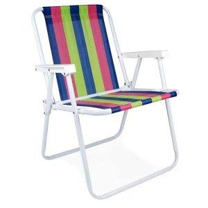 Cadeira Praia Mor 2224 Aço Pintado - Azul, Rosa e Verde