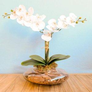 Arranjo com Duas Orquídeas Artificiais Branca no Vaso de Vidro Transparente