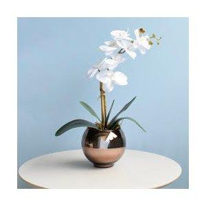 Arranjo de Orquídea Artificial Branca no Vaso Bronze