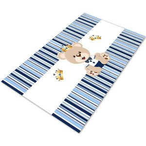 Tapete Infantil Ursinho Príncipe Azul Aço 60x120 Antiderrapa