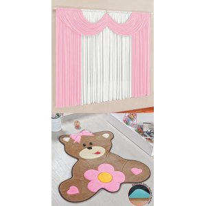 Kit Tapete Infantil Ursa Baby Rosa Com Cortina 2 Metros Quarto Menina Fofo