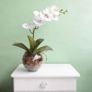 Arranjo Artificial de Orquídea Branca de Silicone no Vaso Transparente | Linha Permanente