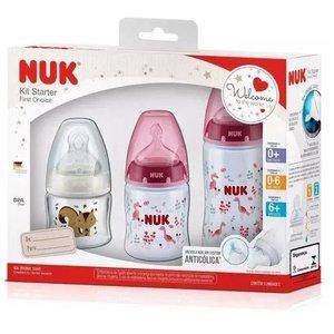 Mamadeira Nuk - Kit Starter First Choice - 3 pçs - Azul