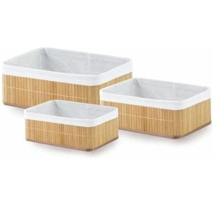 Cesto Organizador 3 Peças Bambu Mimo Style Cor Palha