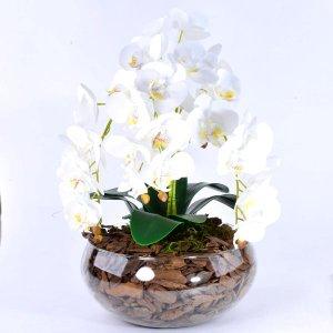 Arranjo Centro de Mesa de Orquídea Branca 3D