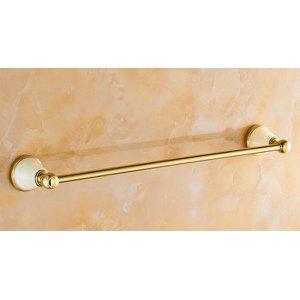Porta Toalha Longo / Toalheiro em Metal Dourado - Acabamento com Detalhe em Pedra - LMS-AB86224G