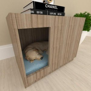 Casinha para cachorro cão bercinho mdf cor Amadeirado escuro