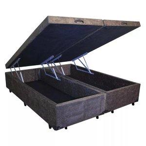 Base Box Baú King Bipartido Confort Home Suede Marrom 47x192x203