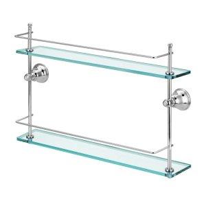 Porta Shampoo Duplo Vidro Metal Parede Box Banheiro Premium