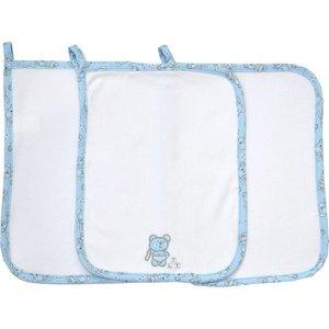 Paninho de Boca Tilly Baby Bordado - Kit 3 Unidades - Em 100% algodão - Branco/Azul Bebê