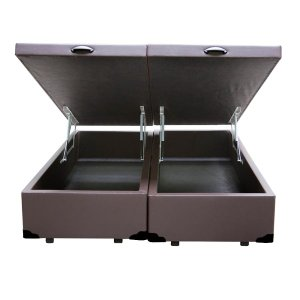 Base Box Baú King Bipartido Confort Home Sintético Marrom 47x192x203