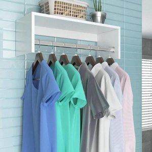 Nicho Arara Cabideiro de parede para lavanderia e quarto 100% MDF 60cm Branco