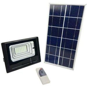 Refletor Luminaria Solar 25w holofote Placa Sensor Bateria Energia