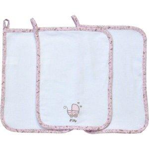 Paninho de Boca Tilly Baby Bordado - Kit 3 Unidades - Em 100% algodão - Branco/Rosa