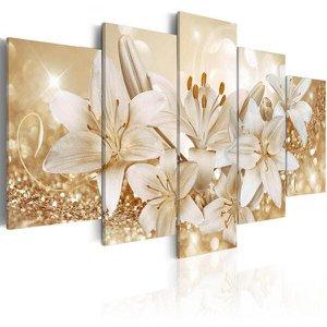quadros flores lirios com efeito dourados brilhantes 5 peças