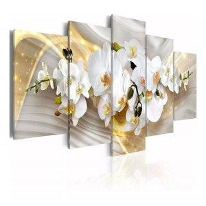 quadros decorativos para sala orquideas brancas com efeito dourados brilhantes