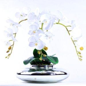 Arranjo de Orquídea Branca Toque Real em Terrário Espelhado