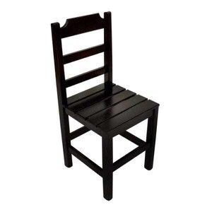 Cadeira Fixa De Madeira Paulista Com Assento Ripado - Preto