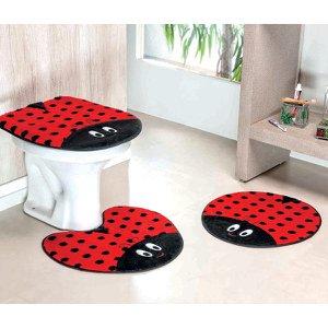 Kit Jogo Banheiro Joaninha Vermelha 3 Peças Antiderrapante