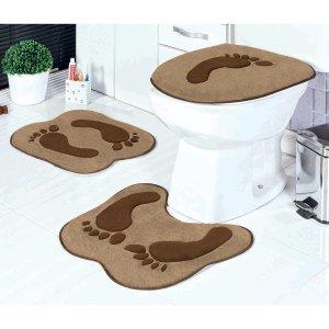 Tapete pata Banheiro Marrom Pegadas 3 Peças Antiderrapante