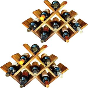 2 Adegas Art Madeira tipo Colmeia para 8 Vinhos Chão Mesa Marrom