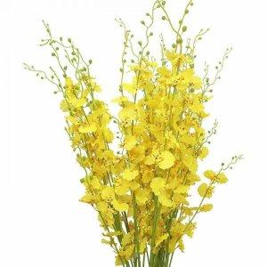Flor Artificial Orquídeas Chuva De Ouro 5 Galhos Grandes