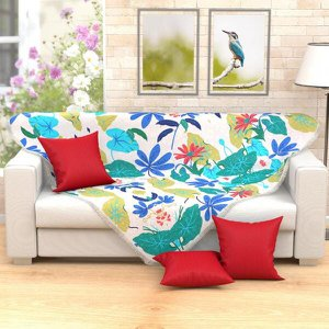 Xale Manta de Sofá Estampado Floral 1,50m x 1,50m + 3 Almofadas Decorativas 45cm x 45cm com refil