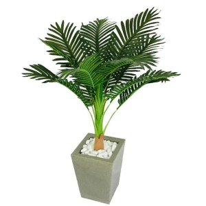 Planta Artificial Palmeira Com Vaso Polietileno Granito