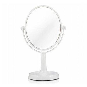 Espelho Redondo de Mesa Giratório Dupla Face 1X e 5X Aumento 2 Cores Disponíveis - Branco
