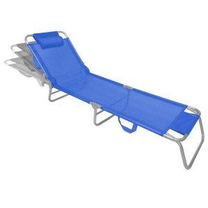 Espreguiçadeira de Alumínio Slim Azul Zaka 100 KG
