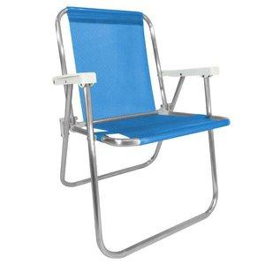 Cadeira Alta Alumínio Azul Zaka