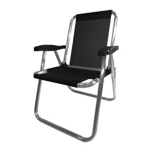 Cadeira Alumínio Plus Preta Zaka 120 KG