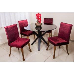 Capa Para Cadeira Veludo Kit 6 Und Alto Padrão Cor Vinho