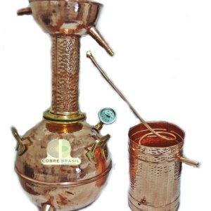 Alambique de cobre 20 litros + Termômetro - modelo capelo