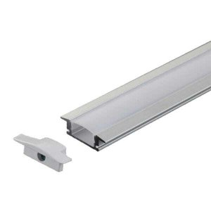 Perfil Embutir Slim Alumínio 24.5x7mm 1 Metro Para Fita LED