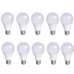 kit 10 Lampadas LED 9w Bivolt Branco Quente 3000K Luz Amarela