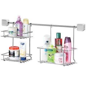 Barra Duas Prateleiras Porta Shampoo Organizador de Banheiro