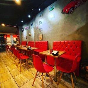 Sofa Booth Capitone Em Couro Ecológico C.E Vermelho