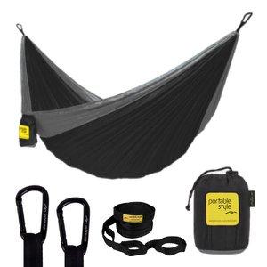 Rede De Camping Hamaca Portátil C/ Cinta Portable Style:Preto - Cinza