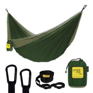 Rede De Camping Hamaca Portátil C/ Cinta Portable Style:Verde Militar - Verde
