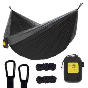 Rede De Camping Hamaca Portátil Dupla C/corda Portable Style:Preto - Cinza