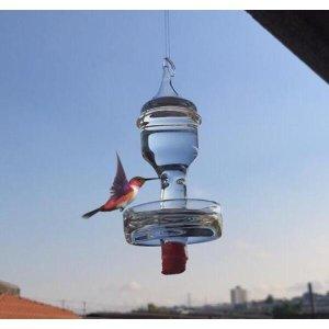Bebedouro de vidro com prato pequeno para beija flor e pássaros