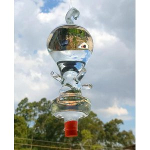 Bebedouro de vidro americano Golfier 4 saídas para Beija flor e pássaros ar livre