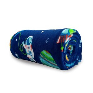 Manta Cobertor Microfibra Solteiro Infantil Astronauta 1,50 X 2,20 Soft Flannel Menino